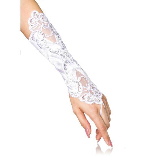 Handstulpen mit Stickereien, weiß, onesize