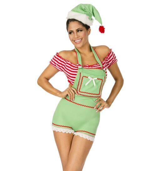 Wichtel Xmas-Kostüm, grün/rot/weiß, Gr.: S/M (36-38)