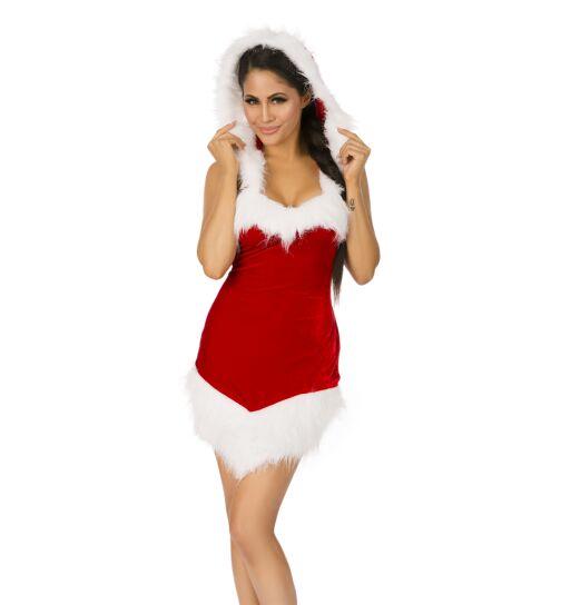 Xmas-Kostüm mit Kapuze, rot/weiß, onesize