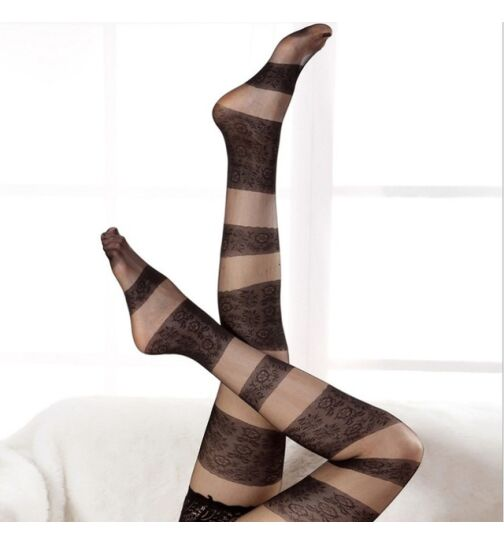 Stockings mit Silikon, beige/schwarz, onesize