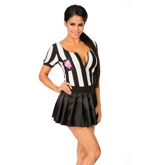 Schiedsrichter-Kostüm, schwarz/weiß, Gr.: S/M (36-38)