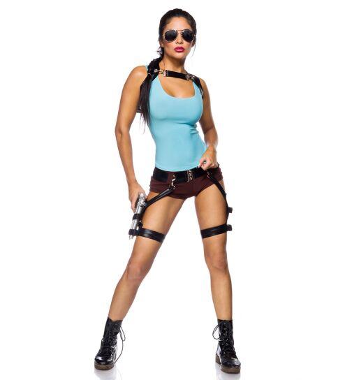 Mask Paradise 80021 Gamer Girl-Kostüm, blau/braun