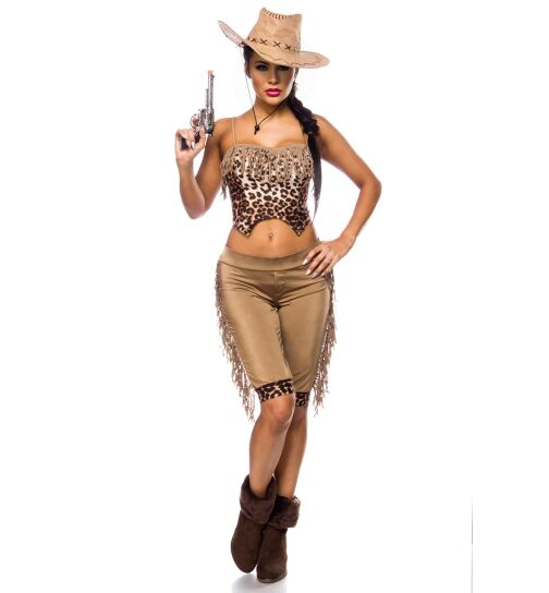 Mask Paradise 80020 Westernkostüm: Cowgirl, leo/beige, onesize
