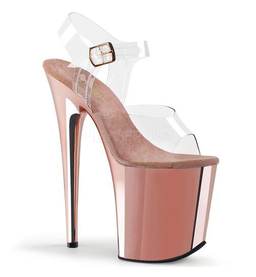 Pleaser Flamingo-808 - High Heel Sandalette, 20cm, roségold/klar, Gr.: 36 (US 6)