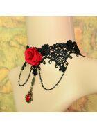 Halsband mit Anhänger, schwarz/rot, onesize