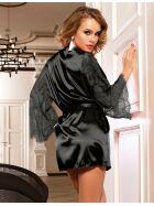 Kimono mit Ärmeln aus Spitze, schwarz, Gr.: S/M (36-38)