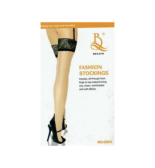 Beileisi Stockings, beige/schwarz, onesize