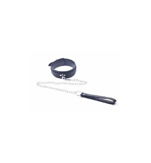 Halsband mit Leine, schwarz, onesize